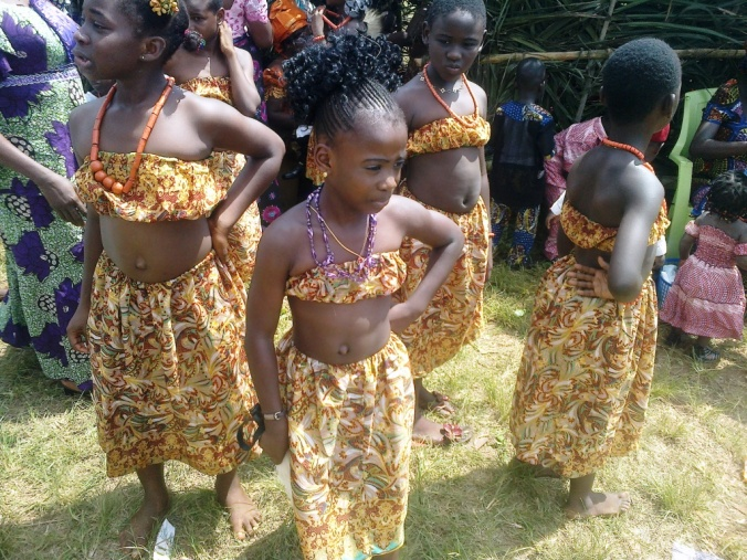 Primary school students exhibiting their cultural inheritance..